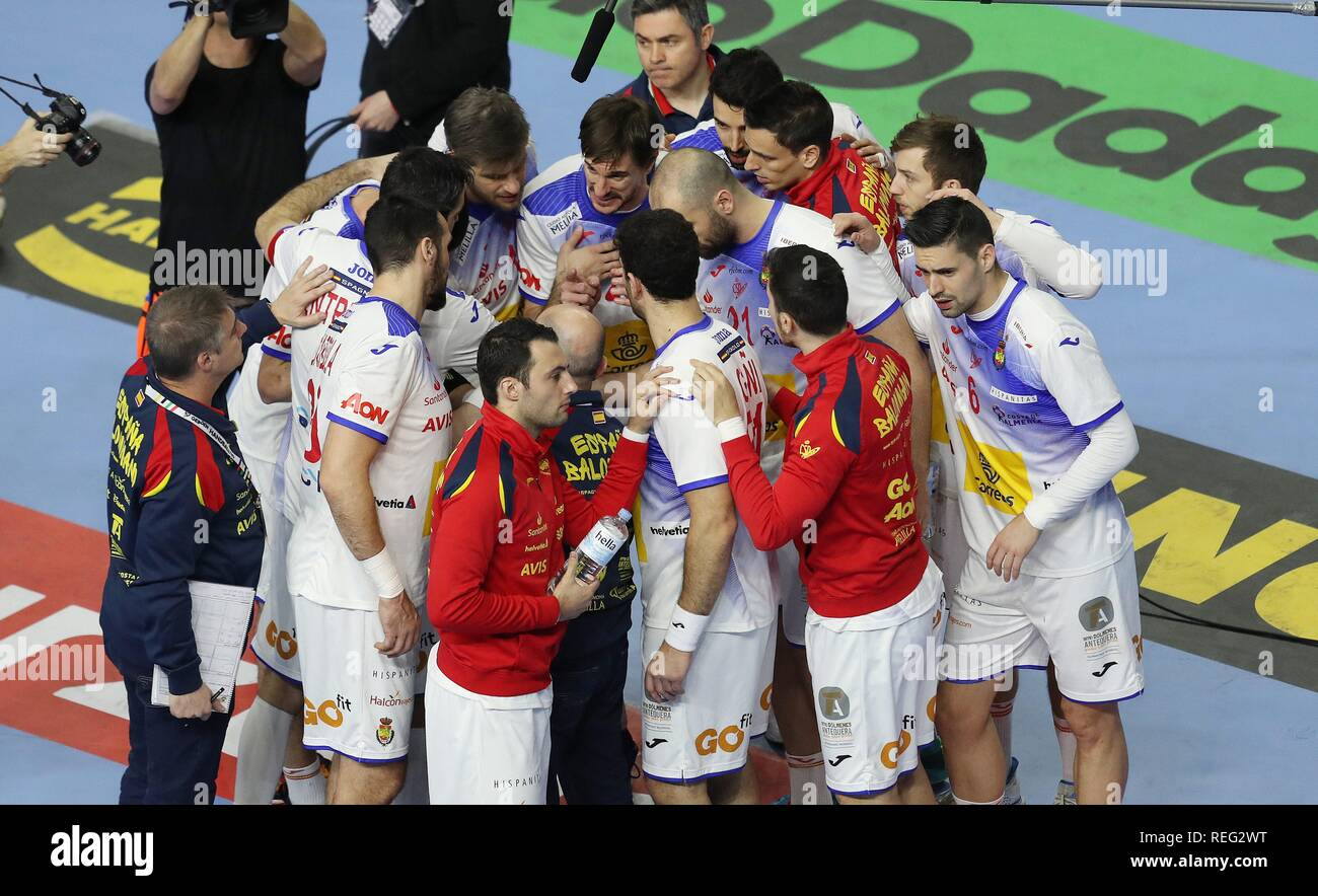 firo: 21.01.2019, Handball: World Cup World Cup Main Round Brazil- Spain Timeout Spain | usage worldwide - Stock Image