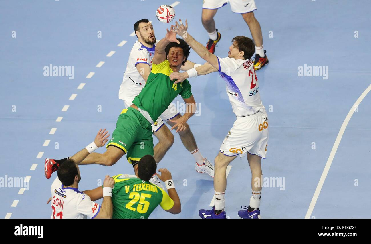 firo: 21.01.2019, Handball: World Cup World Cup Main Round Brazil- Spain duels Santos | usage worldwide - Stock Image