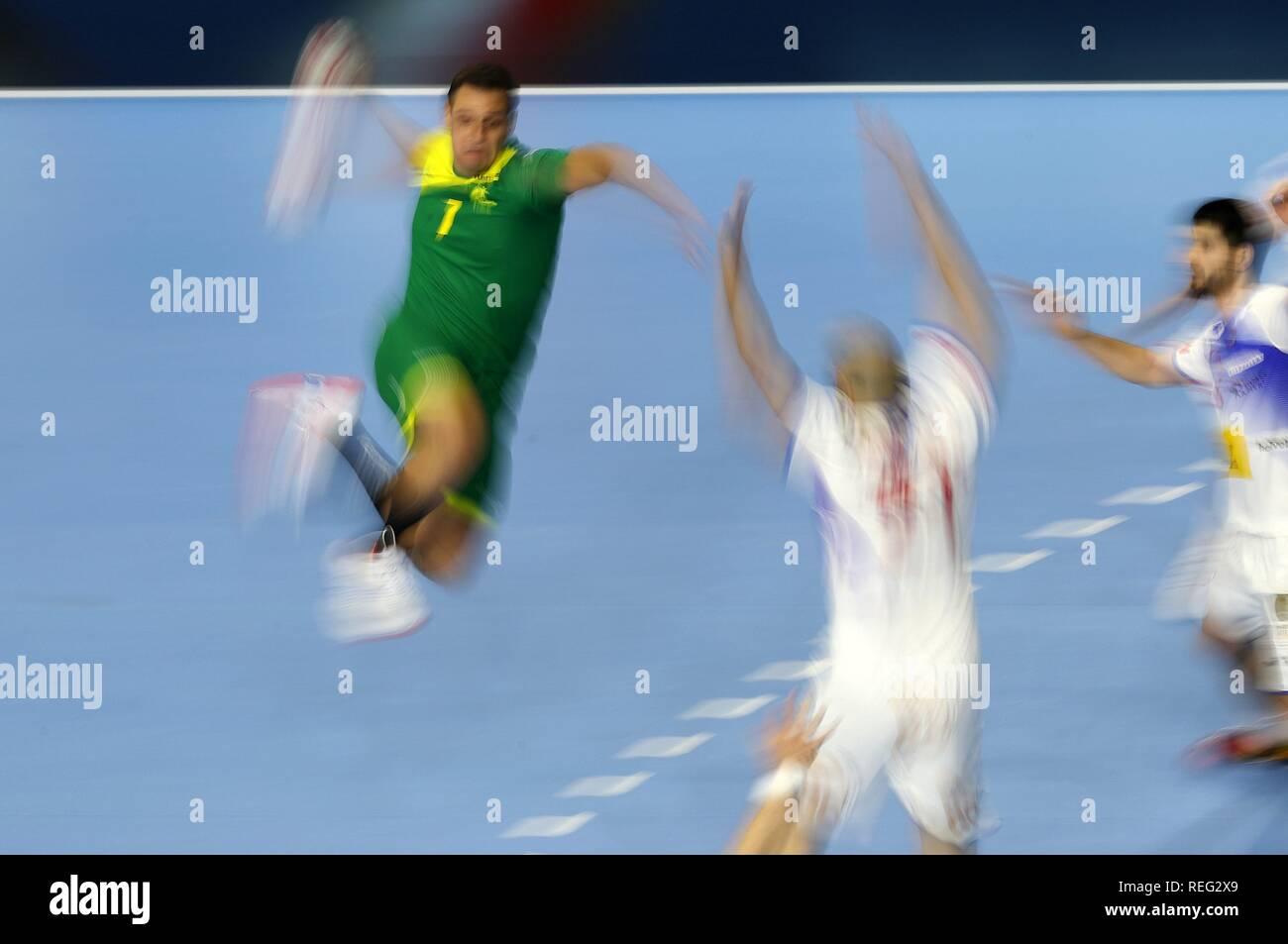 firo: 21.01.2019, Handball: World Cup World Cup Main Round Brazil-Spain Feature, blurred, general, depositors, background   usage worldwide - Stock Image