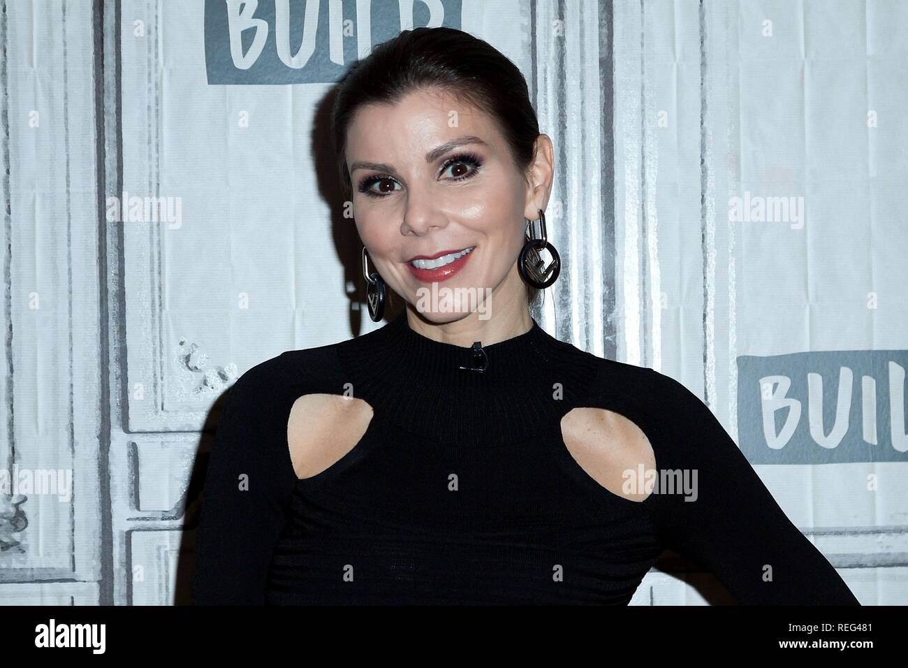 Heather Dubrow inside for AOL Build Series Celebrity Candids - MON, AOL Build Series, New York, NY January 21, 2019. Photo By: Steve Mack/Everett Collection - Stock Image