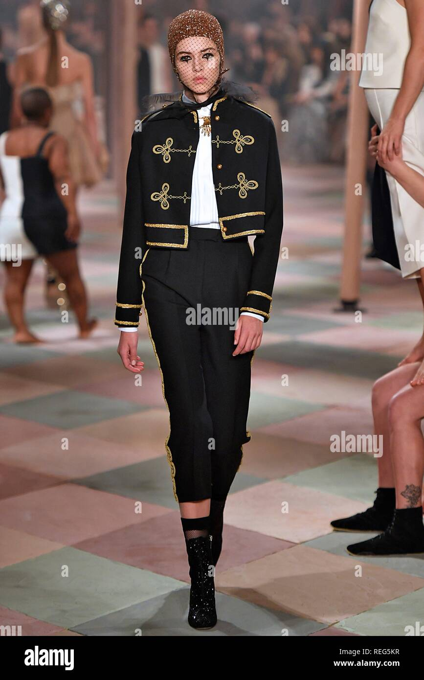 13807b3a4a 21st Jan, 2019. A model presents a creation of Christian Dior during the  Paris Fashion Week Haute Couture Spring/Summer 2019 in Paris, France, on Jan .