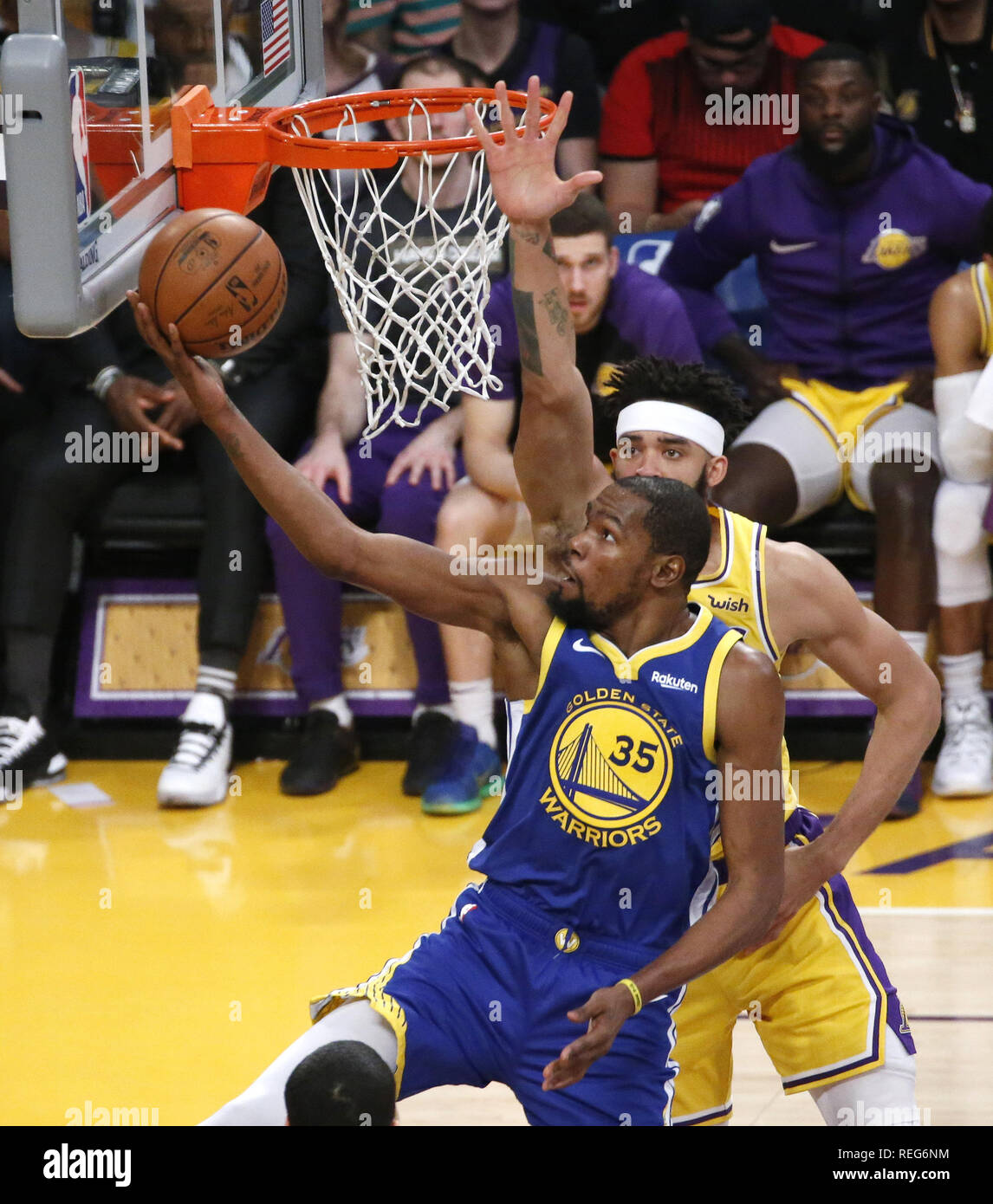 ebfb62c3cbb4 Golden State Warriors  Kevin Durant (35) goes to basket while defended by  Los Angeles Lakers  JaVale McGee (7) during an NBA basketball game between  Los ...