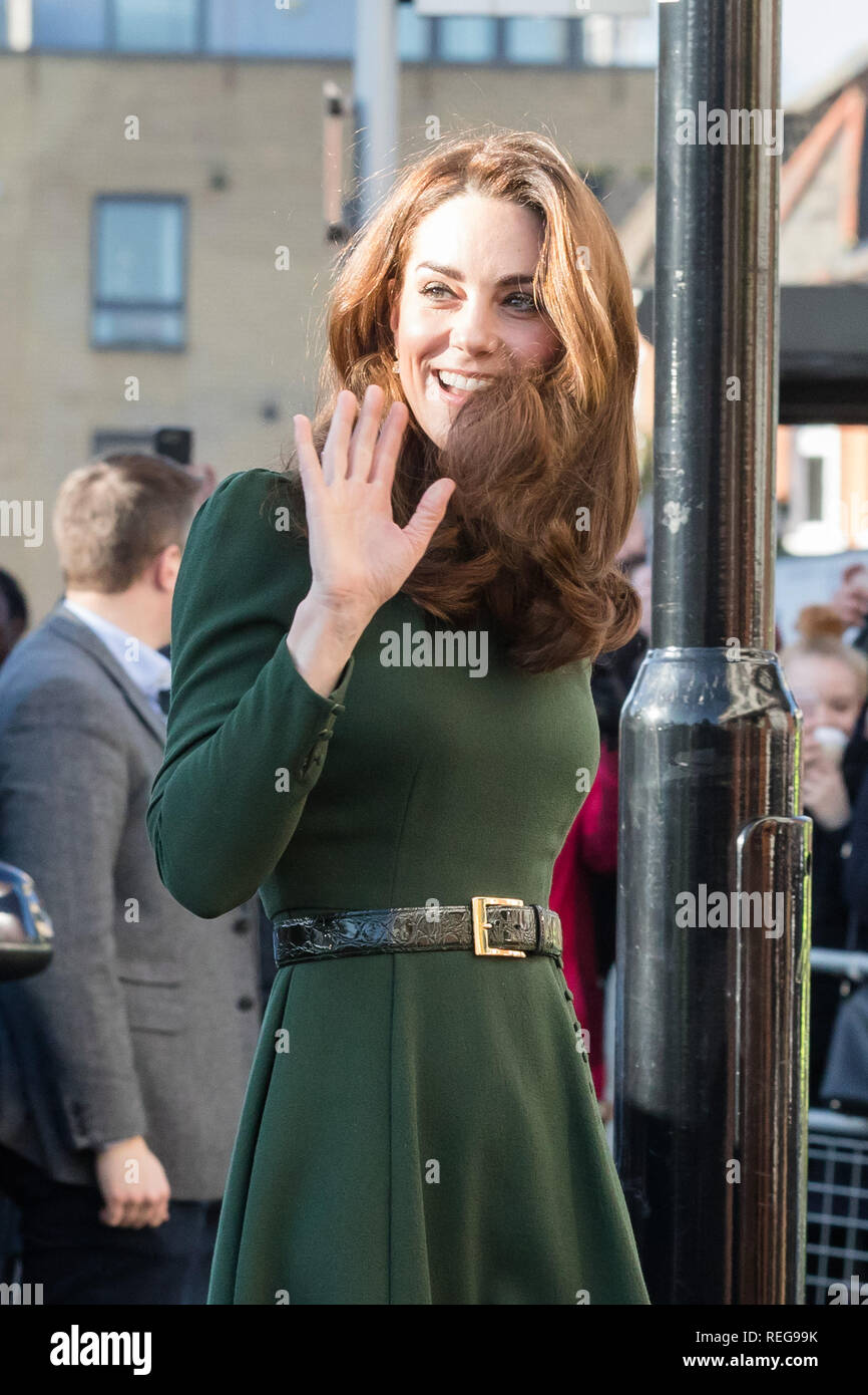 London, UK. 22nd Jan 2019. HRH The Duchess of Cambridge arrives at Family Action Lewisham base to launch their new service 'FamilyLine' uses a network of volunteers from across the country to support parents and carers virtually through telephone calls, email and text messaging. Credit: amanda rose/Alamy Live News Stock Photo