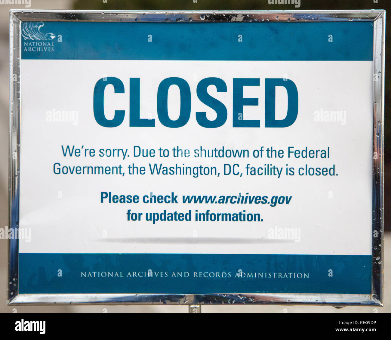 Washington DC, USA  20th Jan 2019  National Archives shut