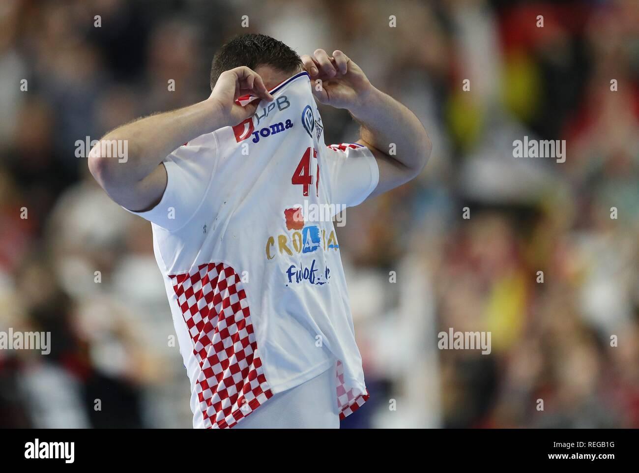 firo: 21.01.2019, Handball: World Cup World Cup Main Round Croatia Croatia - Germany 21:22 Disconnected, Jakov Vrankovic, CRO   usage worldwide - Stock Image