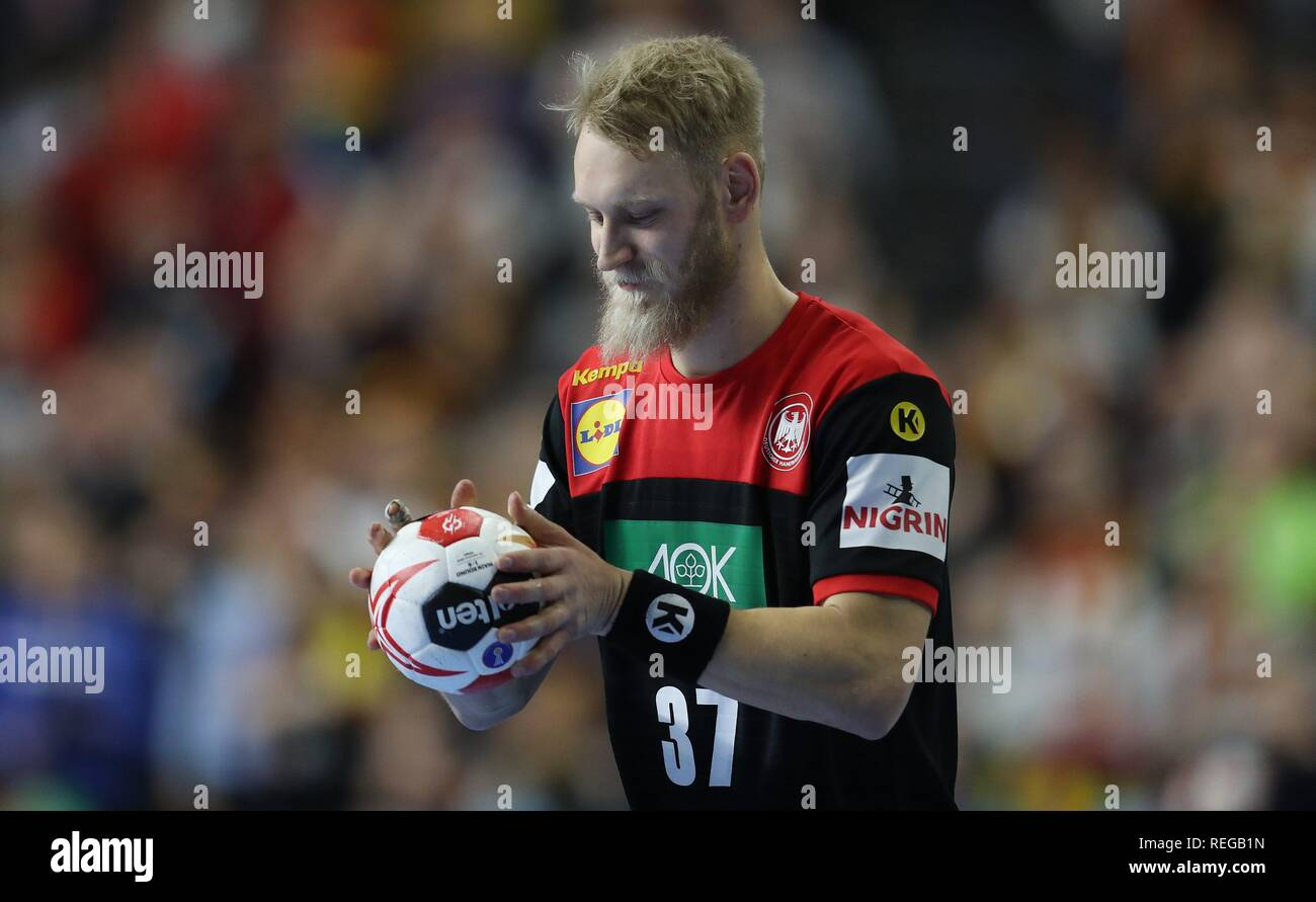 firo: 21.01.2019, Handball: World Cup World Championship Main Round Croatia Croatia - Germany 21:22 Single Event, Matthias Musche   usage worldwide - Stock Image