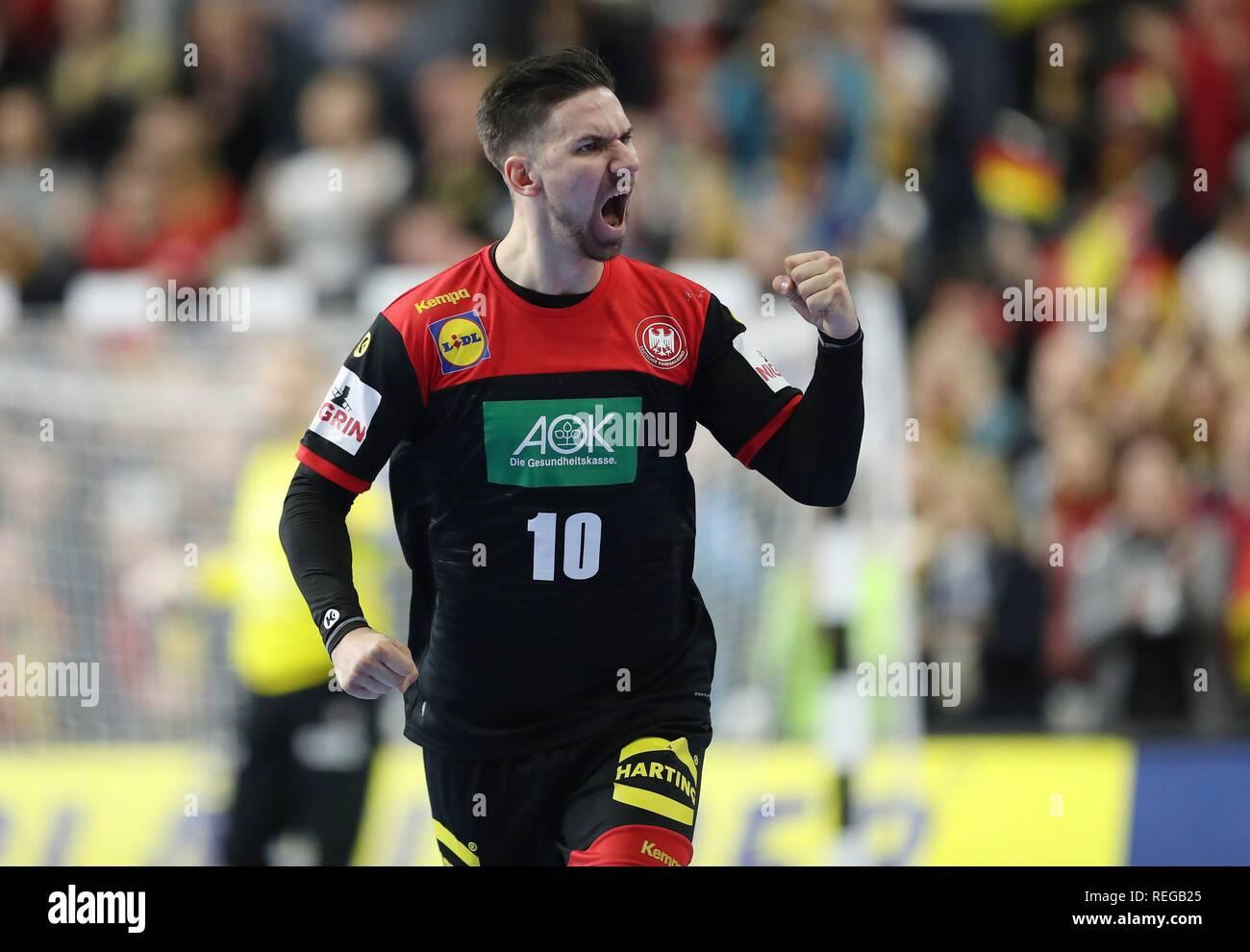 firo: 21.01.2019, Handball: World Cup World Cup Main Round Croatia Croatia - Germany 21:22 jubilation, Fabian Wiede, GER   usage worldwide - Stock Image