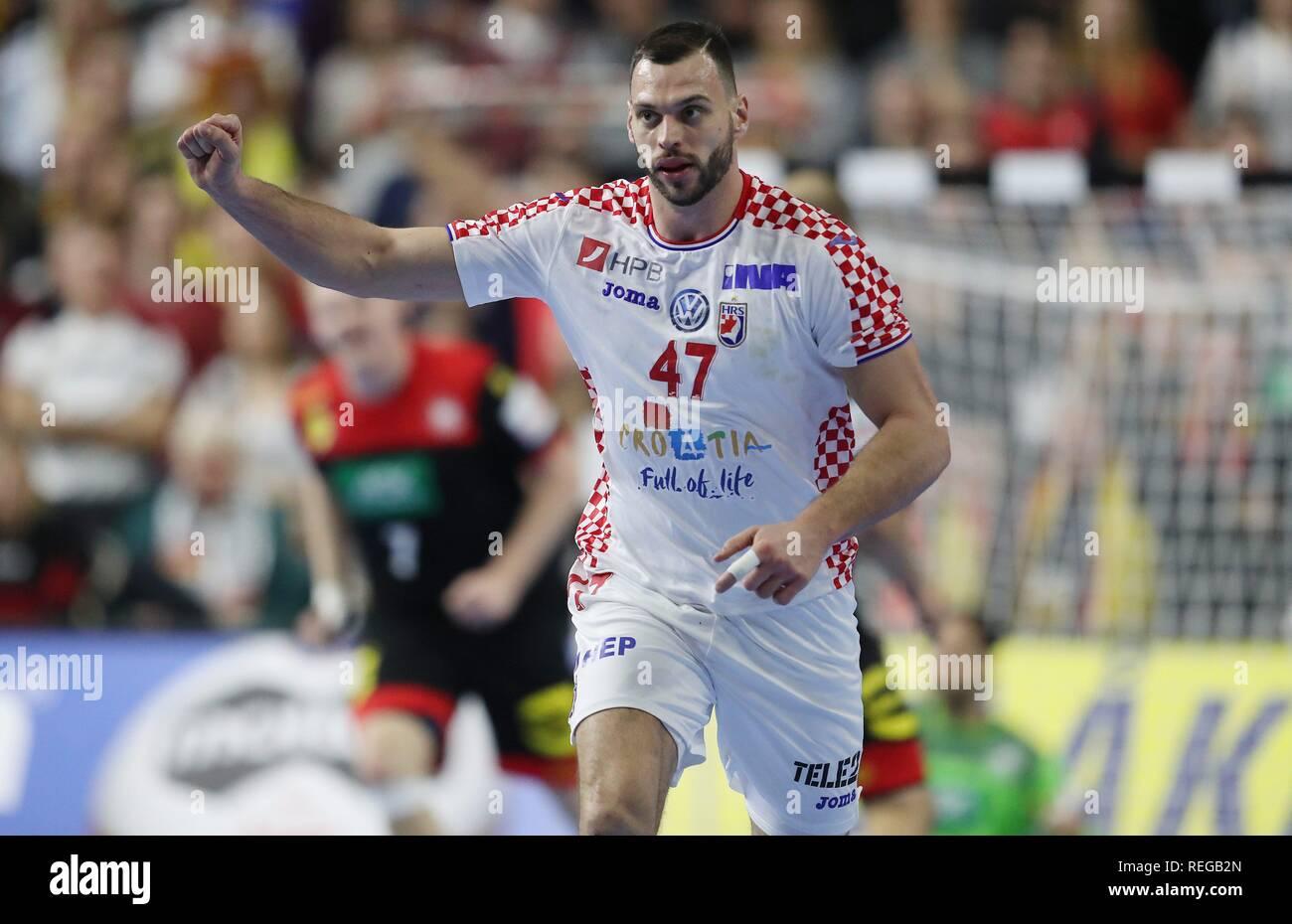 firo: 21.01.2019, Handball: World Cup World Cup Main Round Croatia Croatia - Germany 21:22 jubilation, Jakov Vrankovic, CRO   usage worldwide - Stock Image
