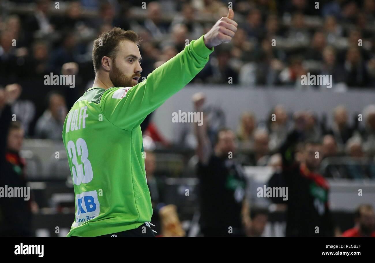 firo: 21.01.2019, Handball: World Cup World Cup Main Round Croatia Croatia - Germany 21:22 gesture, Andreas Wolff, GER   usage worldwide - Stock Image