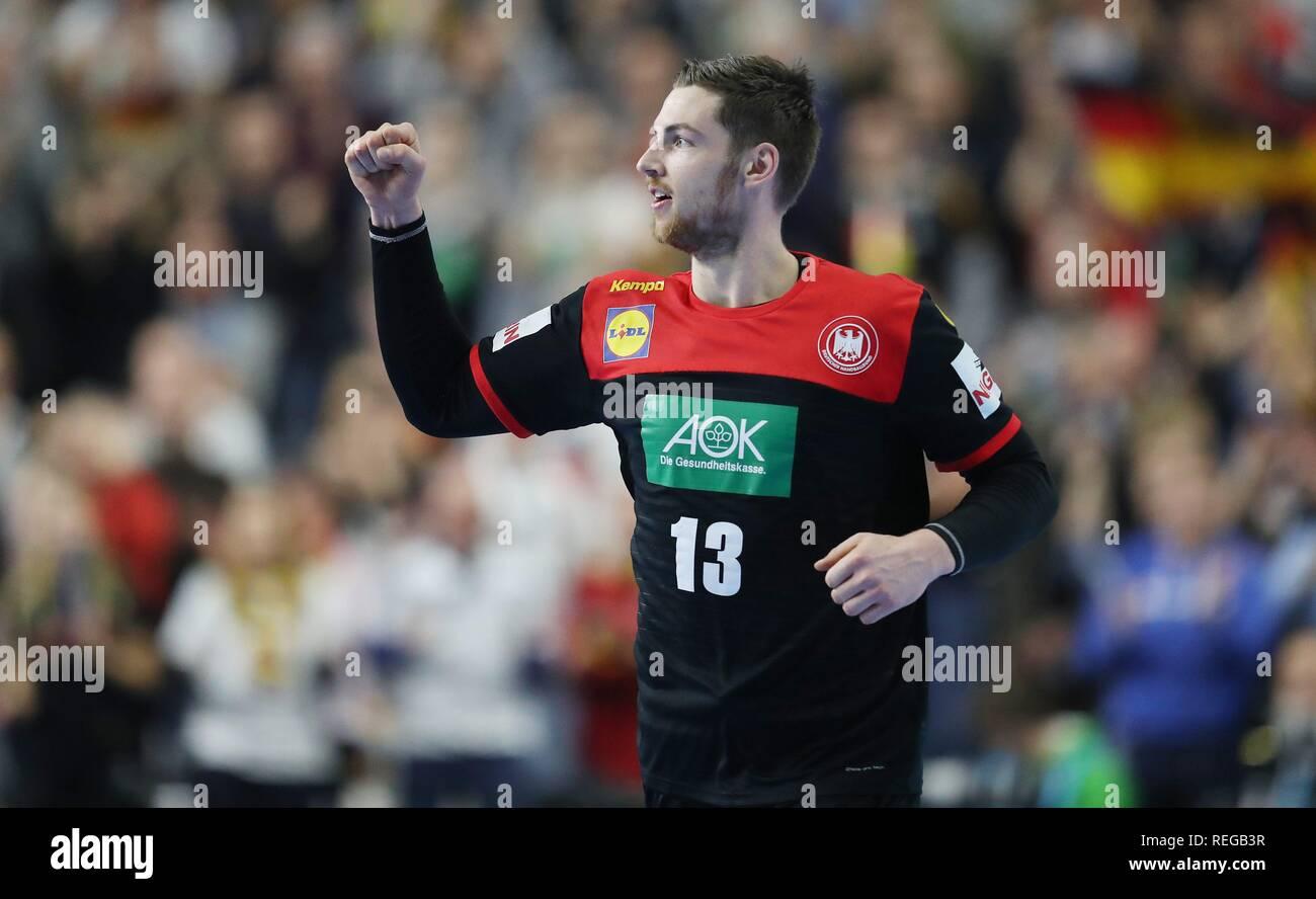 firo: 21.01.2019, Handball: World Cup World Cup Main Round Croatia Croatia - Germany 21:22 GEstik, jubilation, Hendrik Pekeler   usage worldwide - Stock Image