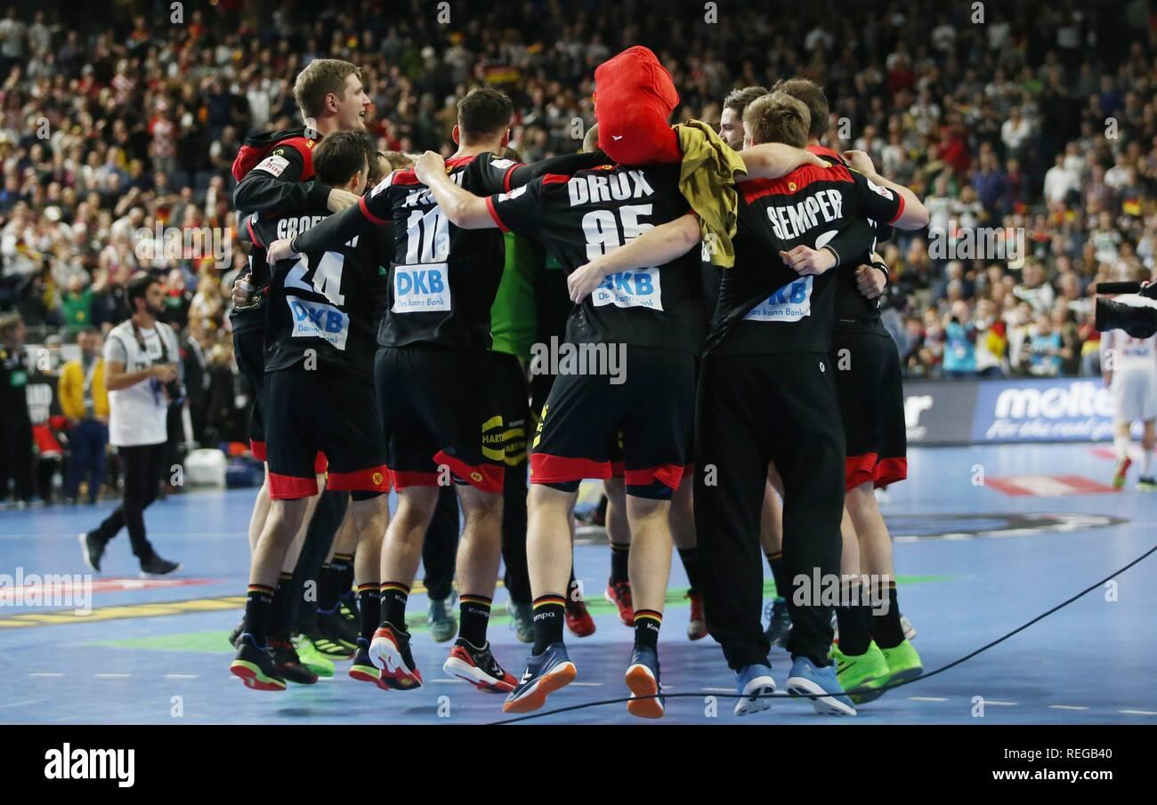 firo: 21.01.2019, Handball: World Cup World Cup Main Round Croatia Croatia - Germany 21:22 jubilation, jubilationkreis about moving into the final   usage worldwide - Stock Image