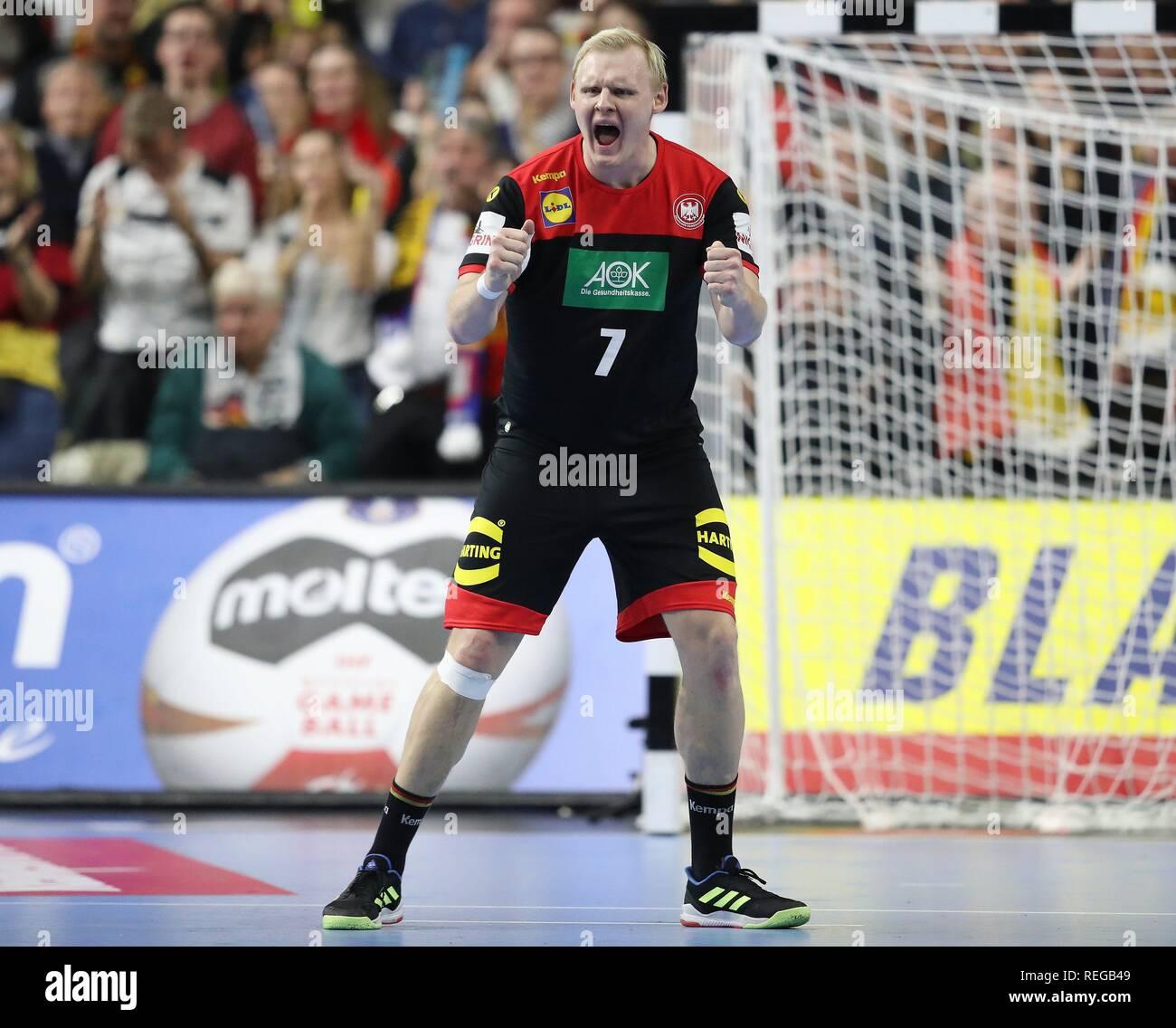 firo: 21.01.2019, Handball: World Cup World Cup Main Round Croatia Croatia - Germany 21:22 GEstik, jubilation, Patrick Wiencek   usage worldwide - Stock Image