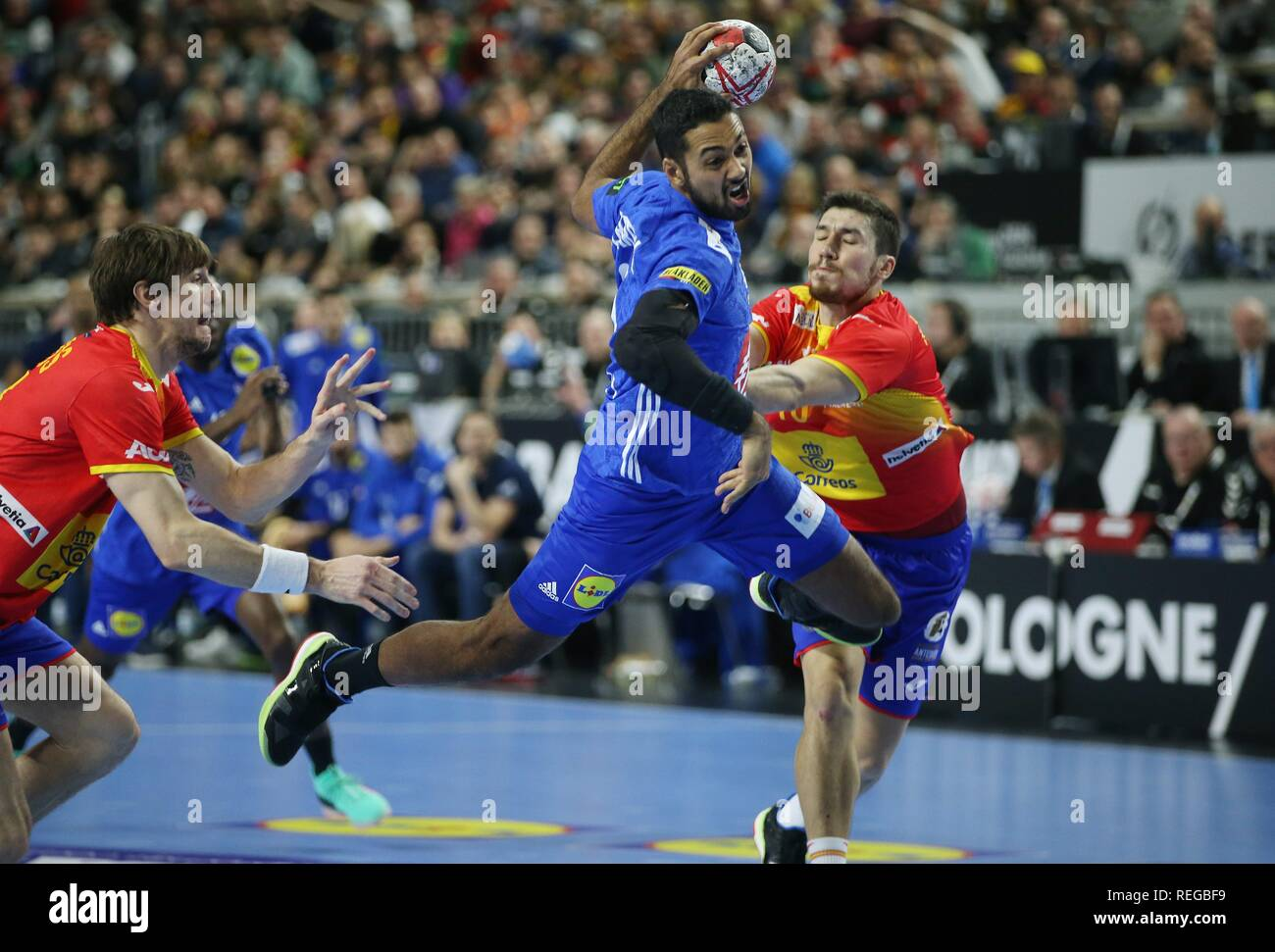 firo: 19.01.2019, Handball: World Cup World Cup Main Round France - Spain | usage worldwide - Stock Image