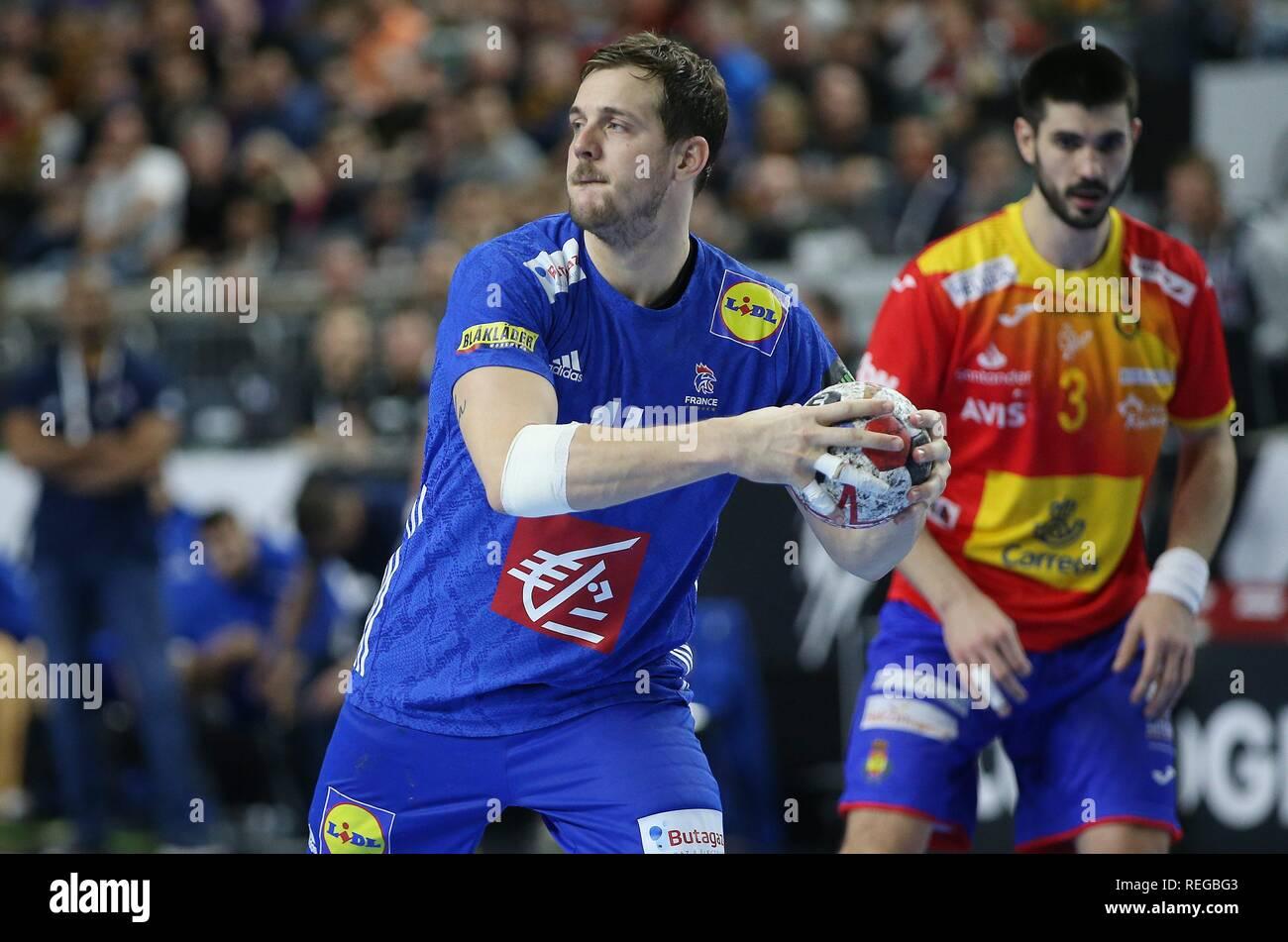 firo: 19.01.2019, Handball: World Cup World Cup Main Round France - Spain Kentin Mahe, single action, FRA   usage worldwide - Stock Image