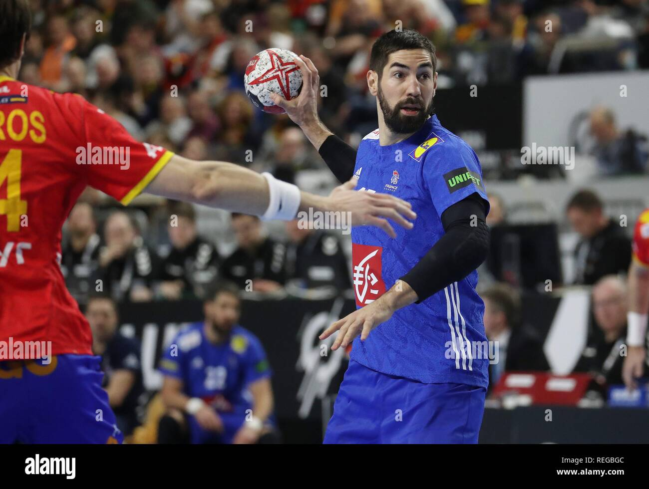 firo: 19.01.2019, Handball: World Cup World Cup Main Round France - Spain. Nikola Karabatic | usage worldwide - Stock Image