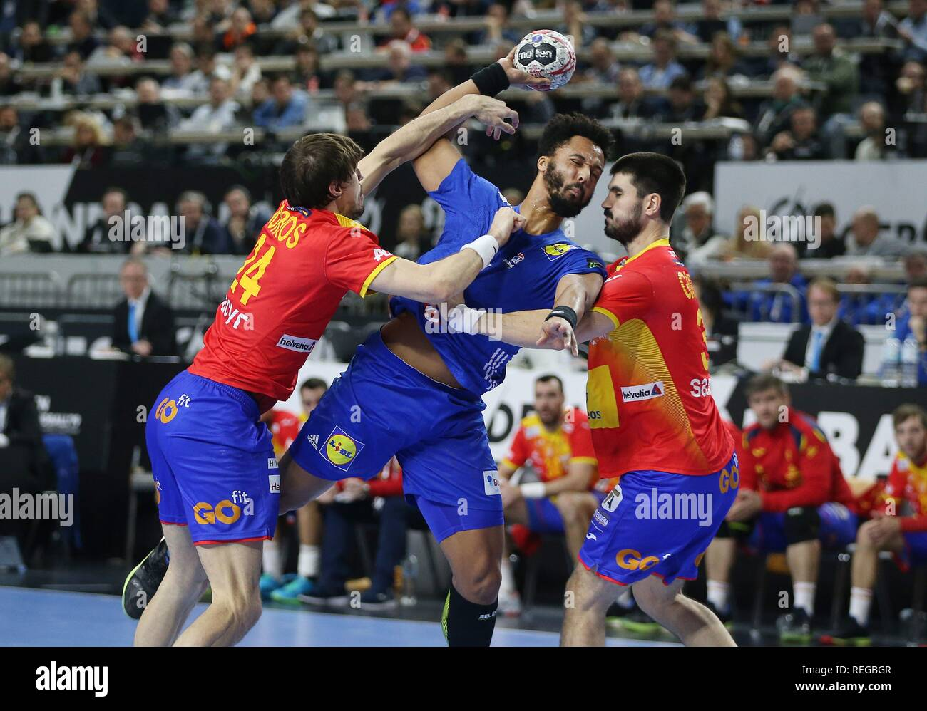 firo: 19.01.2019, Handball: World Cup World Cup Main Round France - Spain duels, Timothy N Guessan, FRA   usage worldwide - Stock Image