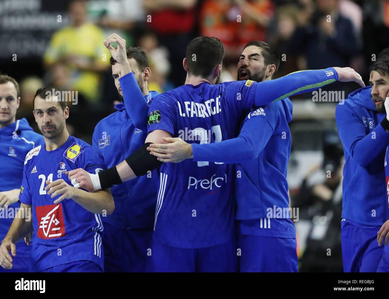 firo: 19.01.2019, Handball: World Cup World Cup Main Round France - Spain Nikola Karabatic jubilation with Ludocic Fabregas   usage worldwide - Stock Image
