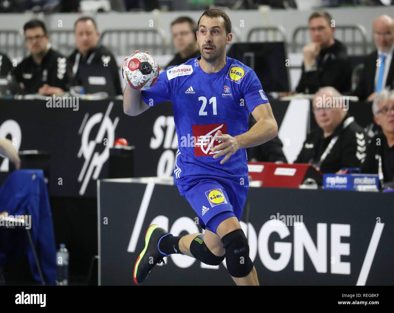 firo: 19.01.2019, Handball: World Cup World Cup Main Round France - Spain Single Action, Michael GUIGOU, FRA   usage worldwide - Stock Image
