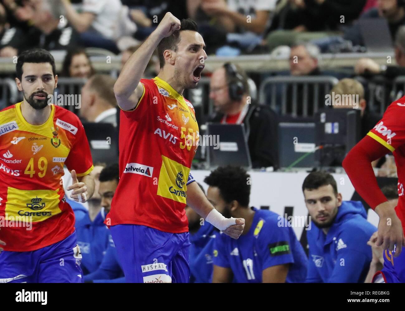 firo: 19.01.2019, Handball: World Cup World Cup Main Round France - Spain jubilation, Adrian Figueras Trejo, ESP   usage worldwide - Stock Image