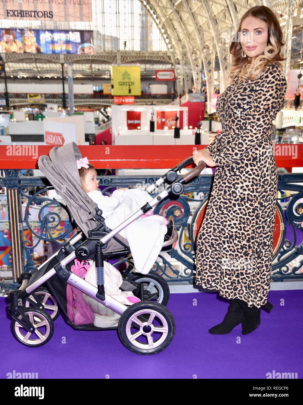 London, UK. 22nd January, 2019. Amy Childs and daughter Polly,The Toy Fair,Olympia,London.UK Credit: michael melia/Alamy Live News - Stock Image