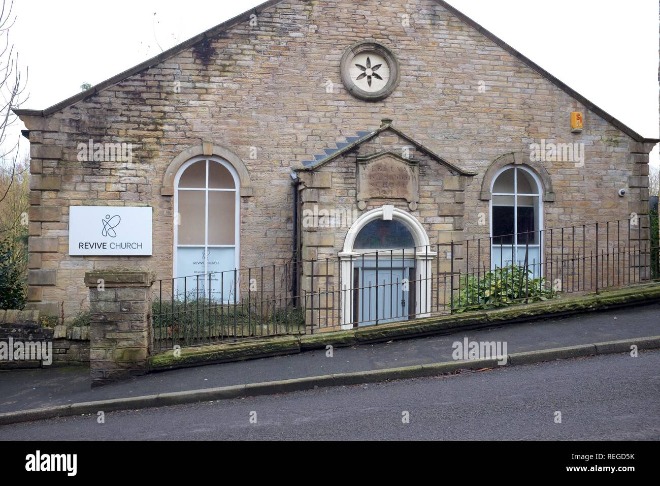 Revive Church on High Street, New Mills, Derbyshire - Stock Image
