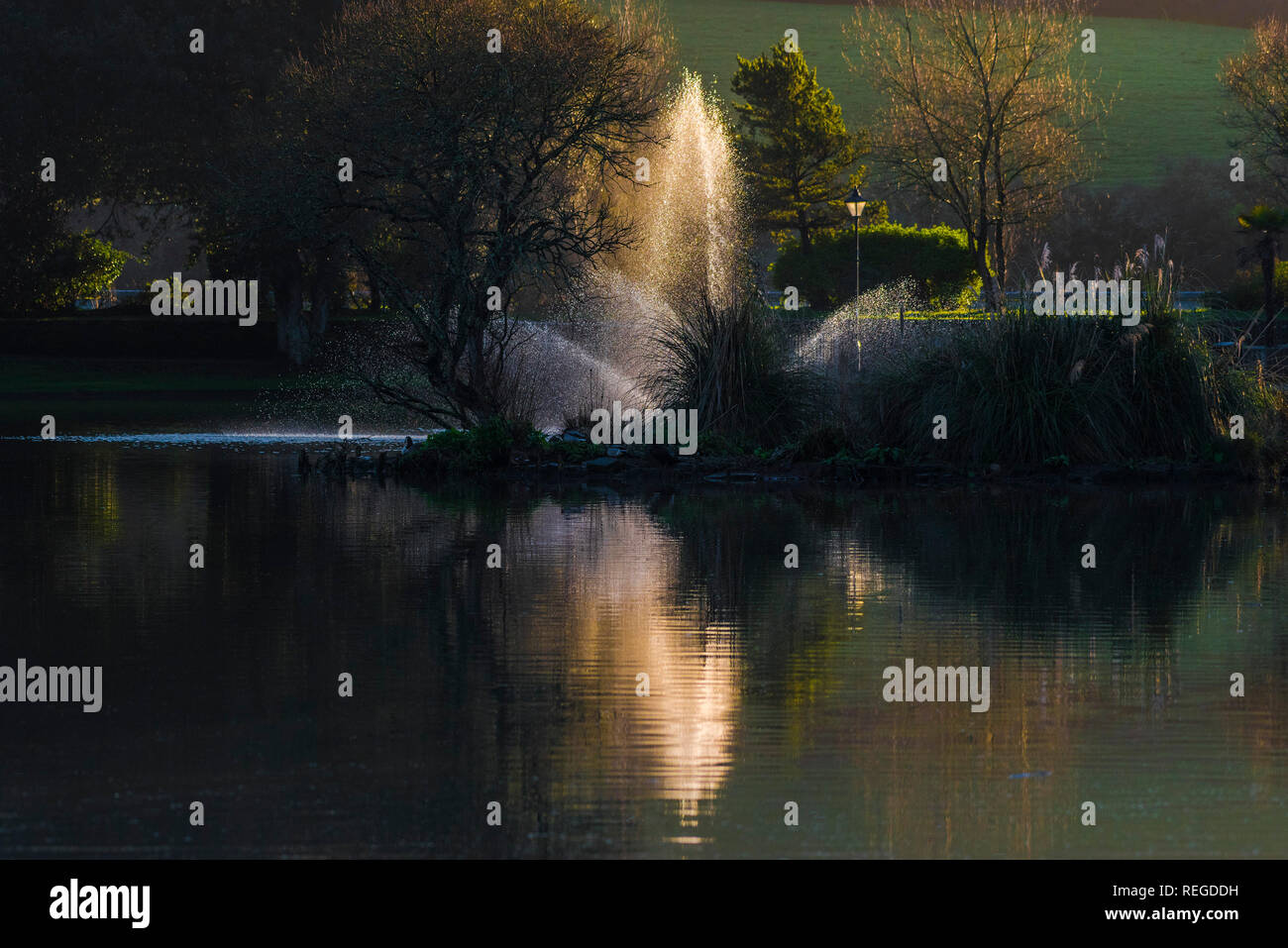 Evening light over the fountain in Trenance Boating lake in Trenance Park in Newquay Cornwall. - Stock Image