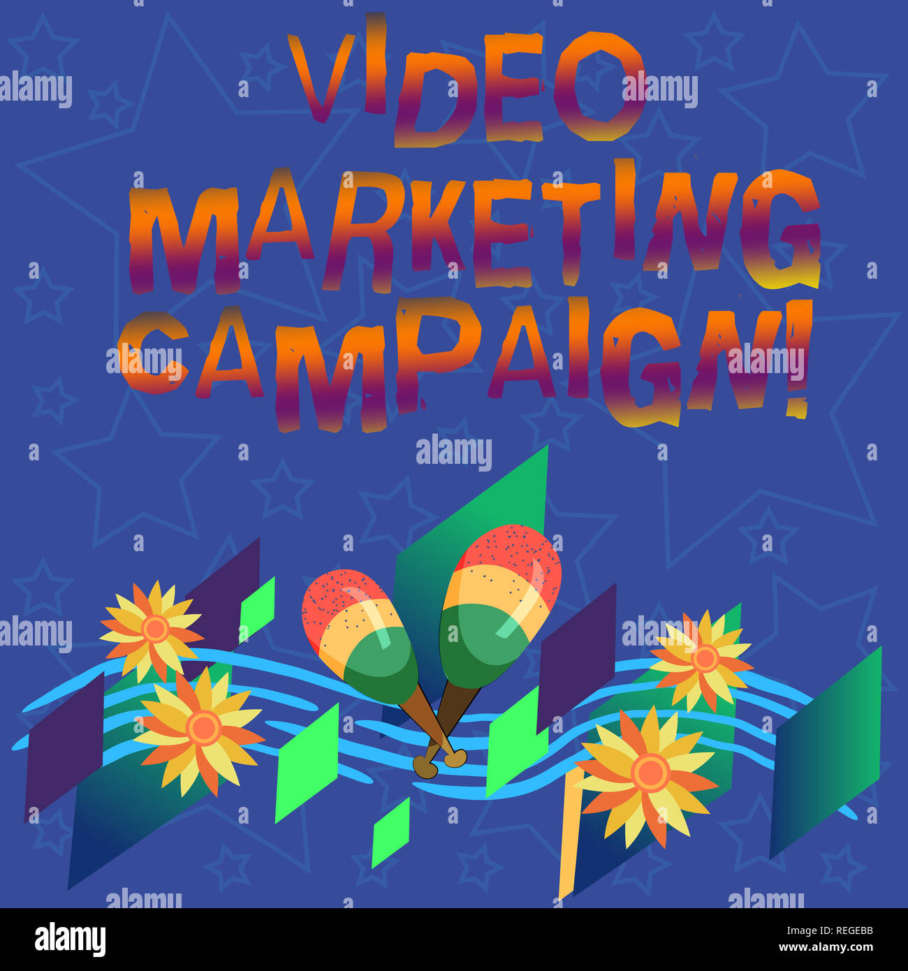 Handwriting text Video Marketing Campaign. Concept meaning Assessing the benefit of digital campaign Colorful Instrument Maracas Handmade Flowers and  - Stock Image