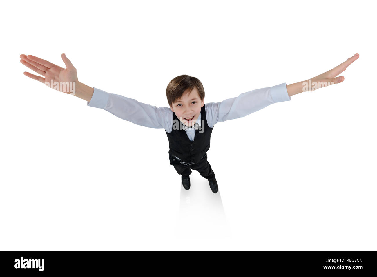 School boy showing something big - Stock Image