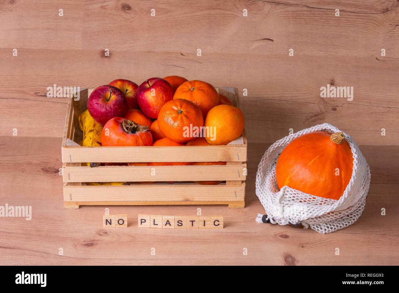 No plastic sign, zero waste home, natural product - Stock Image