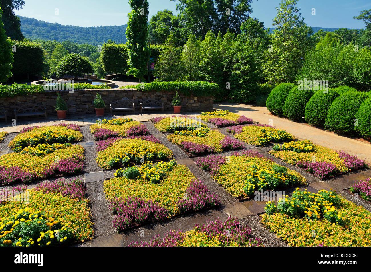 Patterned Quilt Garden in Asheville North Carolina - Stock Image