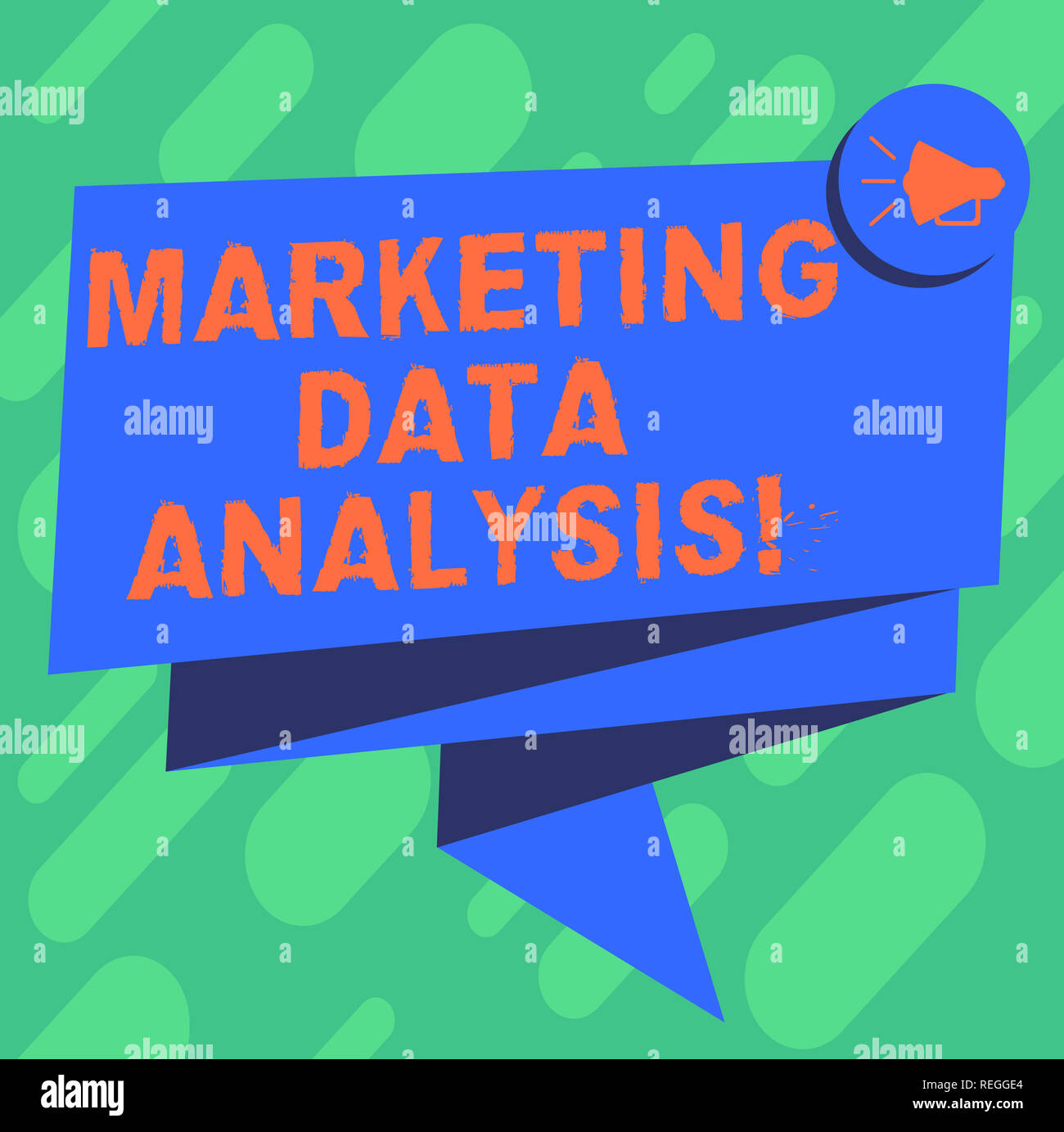 Conceptual hand writing showing Marketing Data Analysis. Business photo showcasing Collecting data, scrutinized and make a conclusion Folded 3D Ribbon - Stock Image