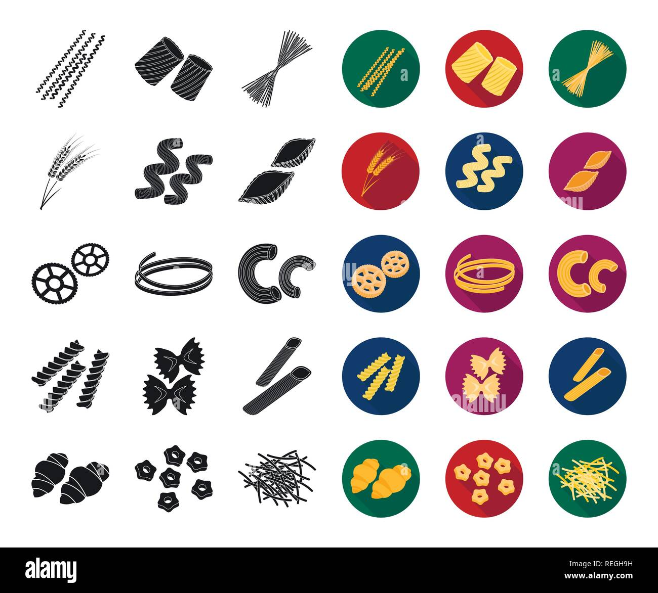 art,black,flat,bucati,carbohydrate,cavatappi,cereal,chifferi,collection,conchiglie,design,ditalini,dough,ears,farfalle,figured,filini,food,fusilli,gnocchi,icon,illustration,isolated,logo,macaroni,pasta,penne,product,ravioli,rigate,rotelle,set,shape,sign,spaghetti,stelline,symbol,tagliatelle,types,vector,web,wheat Vector Vectors , Stock Vector