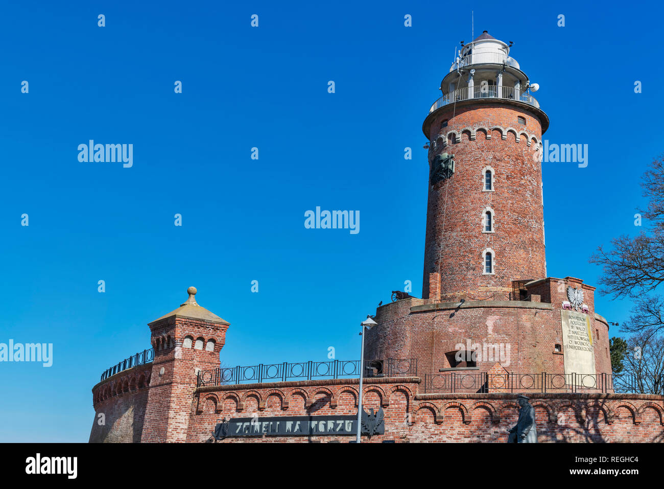 The lighthouse of Kolobrzeg is 26 metres high. It is located at the entrance to the port of Kolobrzeg, West Pomeranian, Poland, Europe - Stock Image