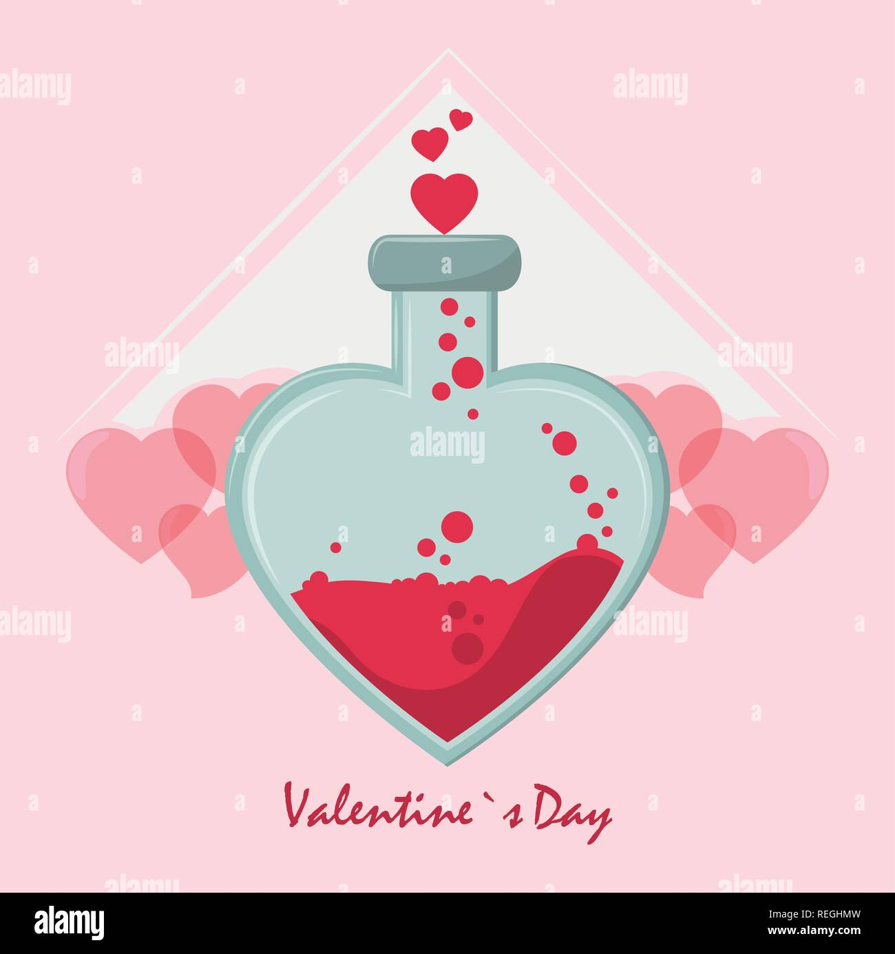 Happy valentines day card - Stock Image