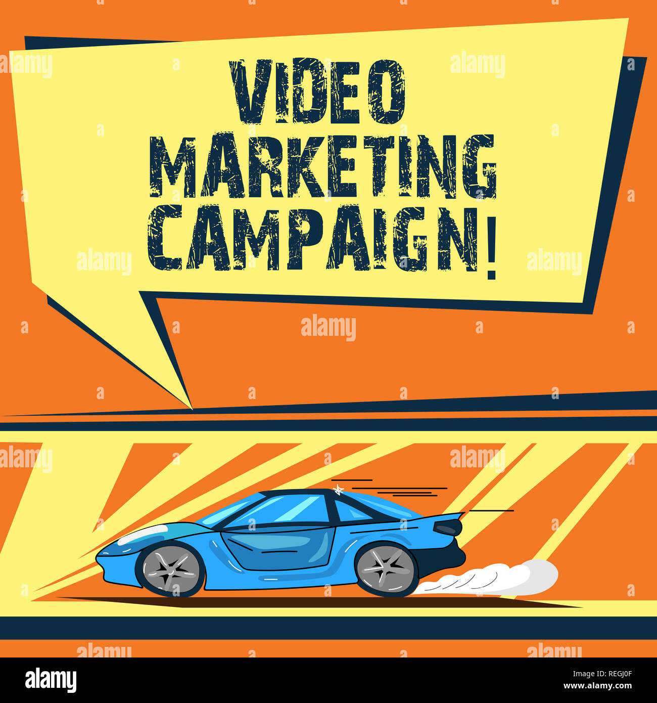 Writing note showing Video Marketing Campaign. Business photo showcasing Assessing the benefit of digital campaign Car with Fast Movement icon and Exh - Stock Image