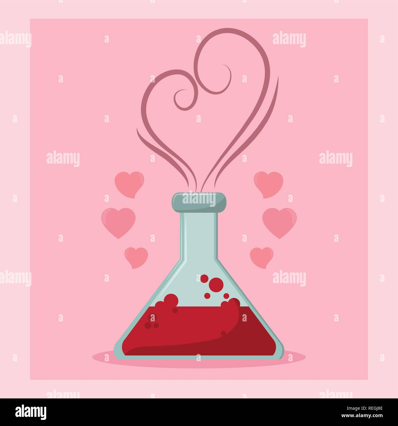 Flask with love formule concept - Stock Image