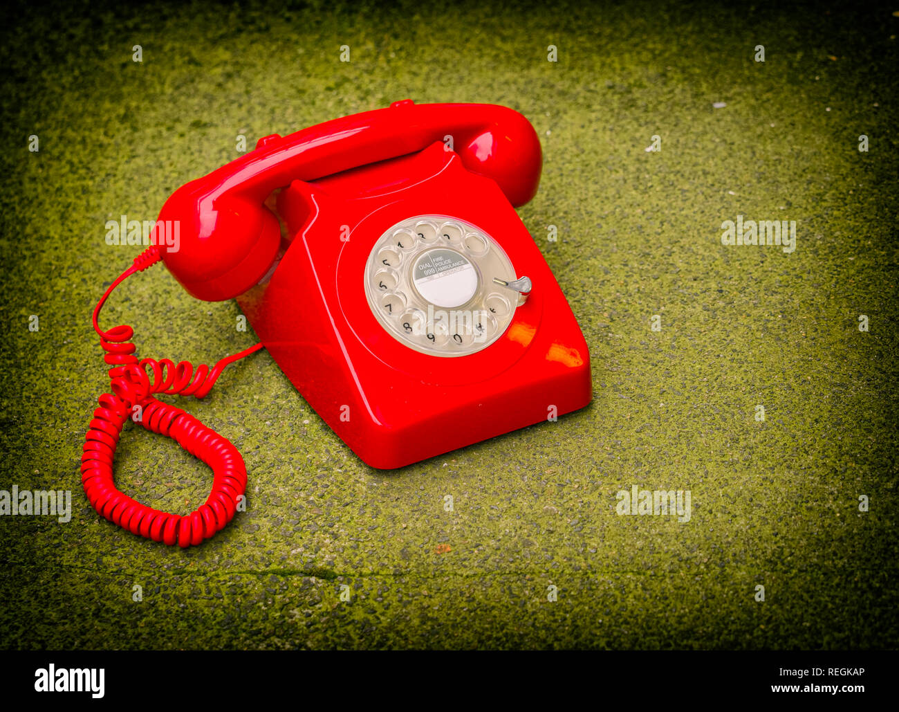 Old Fashioned Rotary Dial Telephone - Stock Image