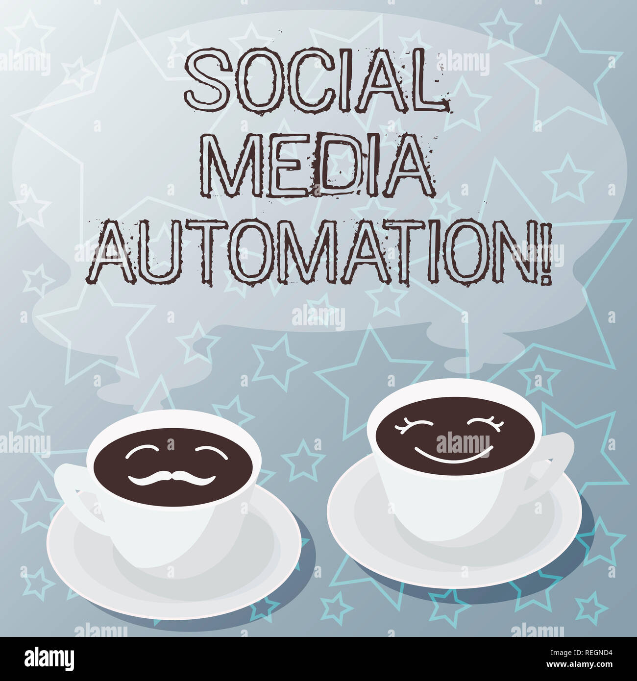 Handwriting text writing Social Media Automation. Concept meaning Automation of posting content to social media Sets of Cup Saucer for His and Hers Co - Stock Image