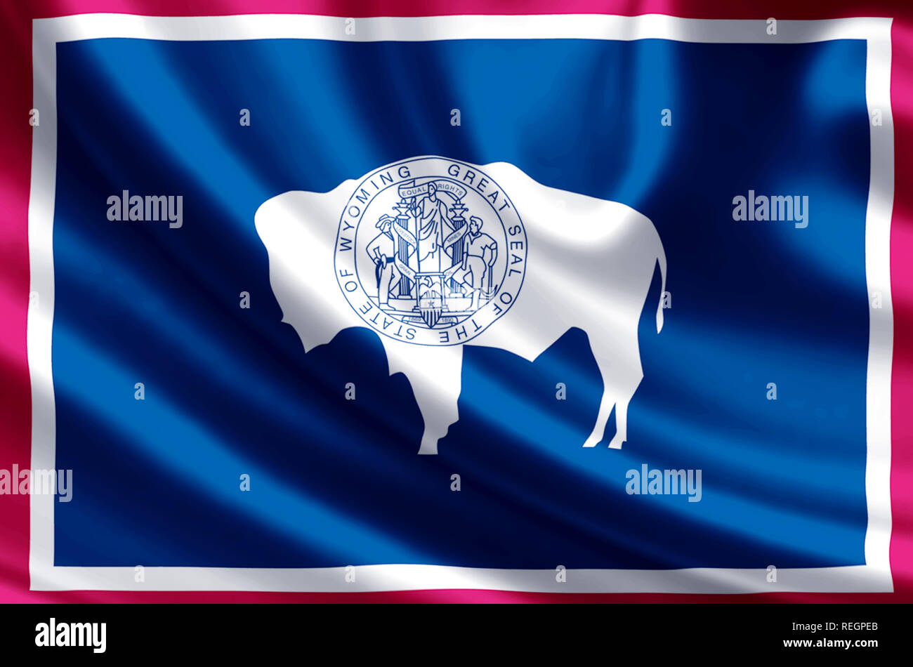 Wyoming Waving And Closeup Flag Illustration Perfect For Background