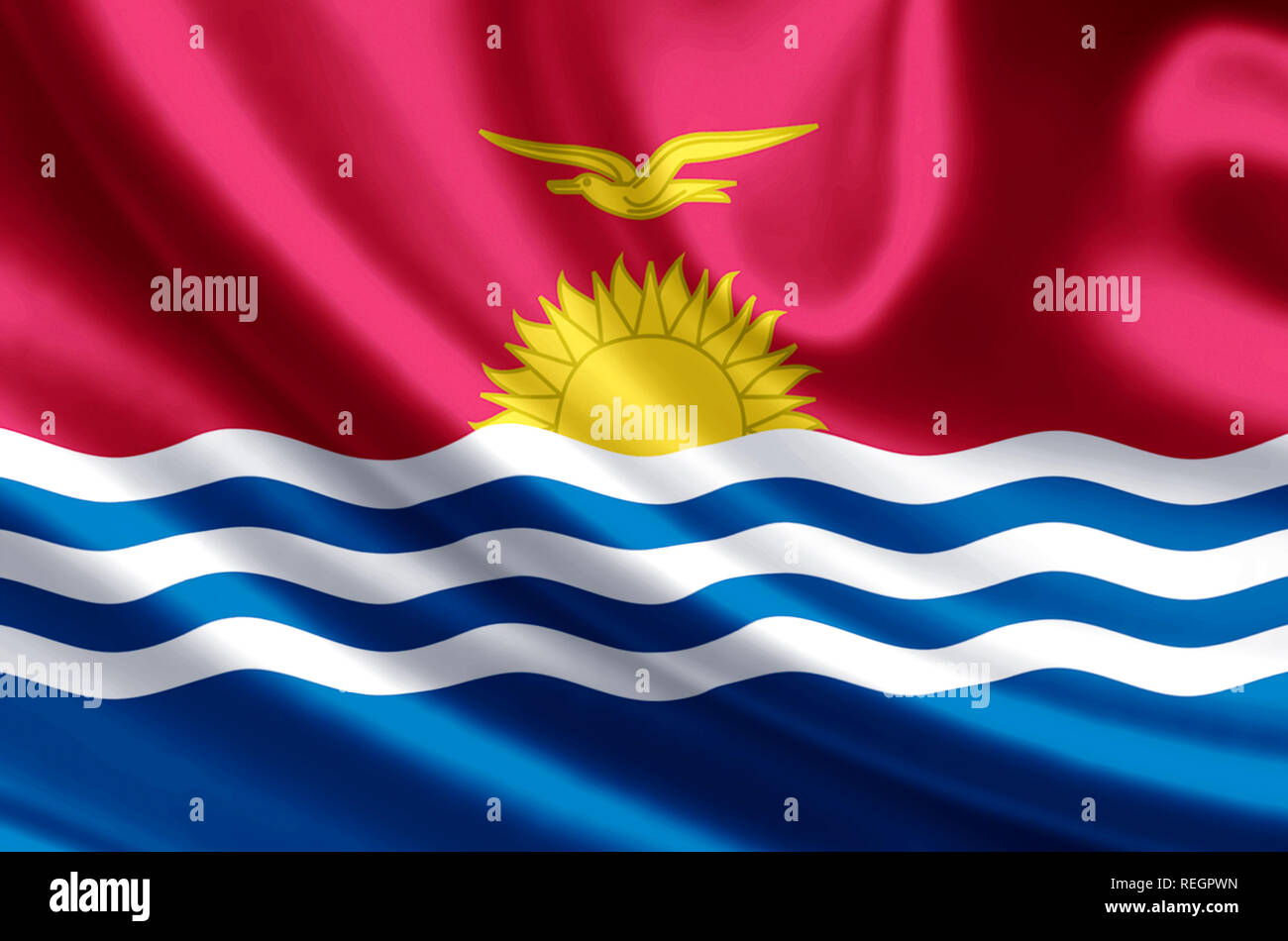 Kiribati waving and closeup flag illustration. Perfect for background or texture purposes. - Stock Image