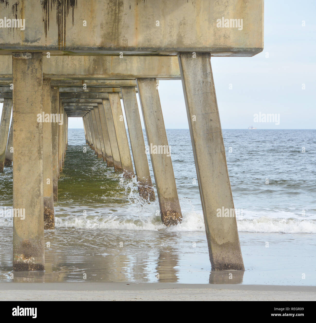 Jacksonville Beach Pier in Duval County, Florida - Stock Image