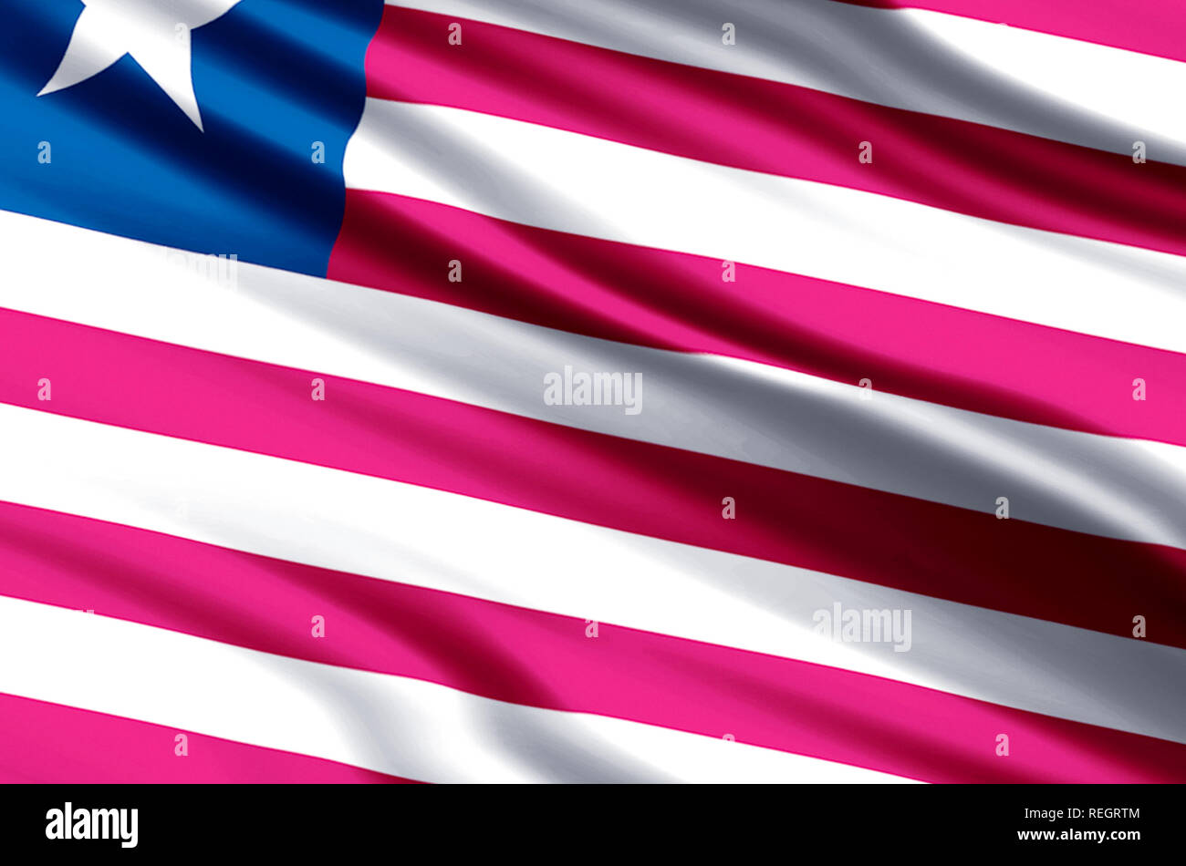 Liberia waving and closeup flag illustration. Perfect for background or texture purposes. - Stock Image