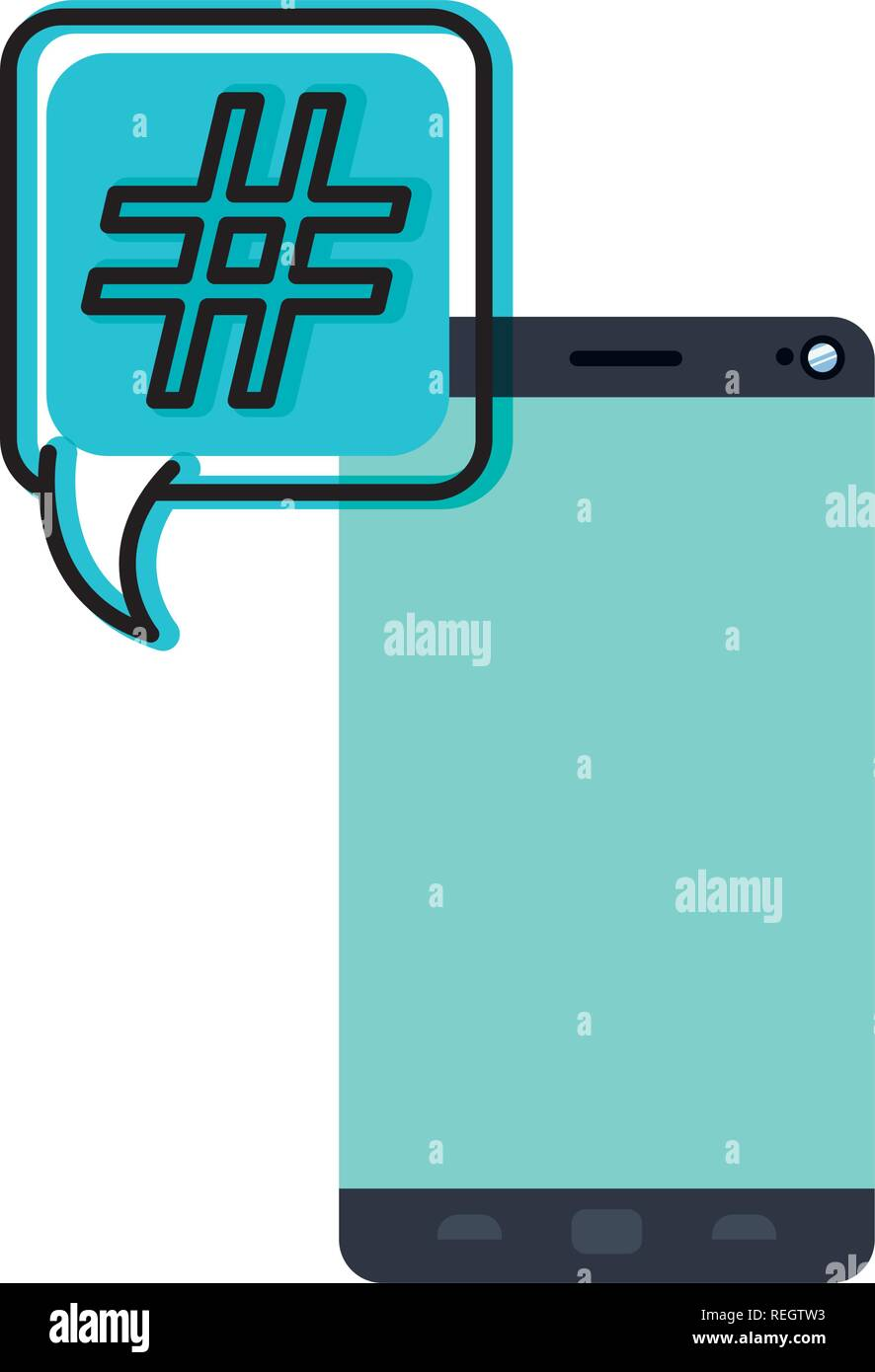smartphone with speech bubble isolated icon - Stock Image