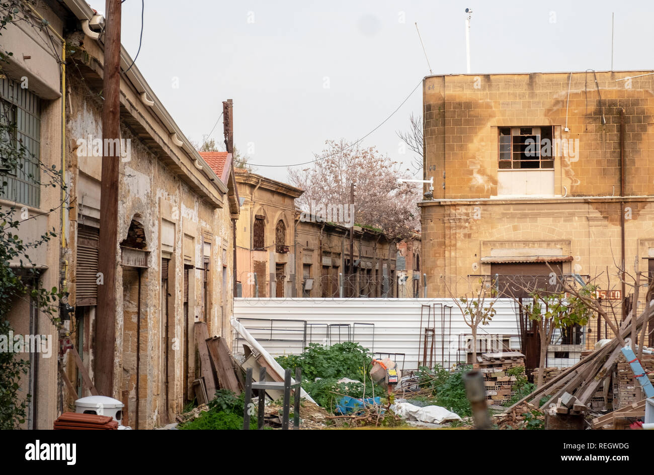 A view across the Buffer zone in central Nicosia, Cyprus, this marks the green line between the Greek and Turkish parts of this divided city. - Stock Image