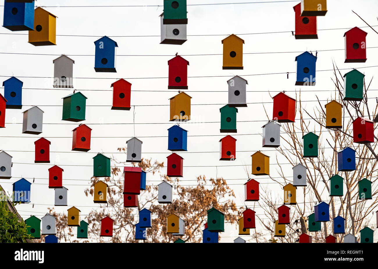 Coloured bird boxes suspended from a wire above a street market in Nicosia Cyprus. - Stock Image