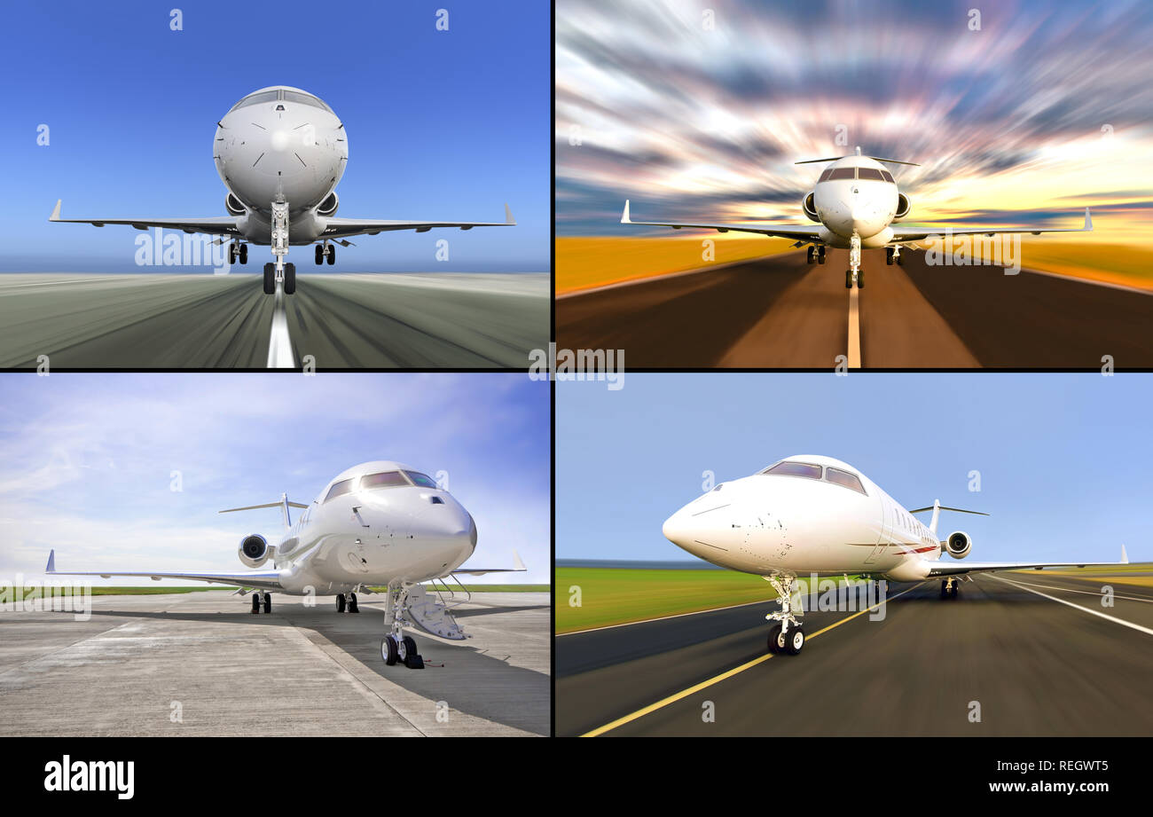 Collection of four luxury private jets. Various aircrafts are landed and ready for boarding or during taking or landing position - Stock Image