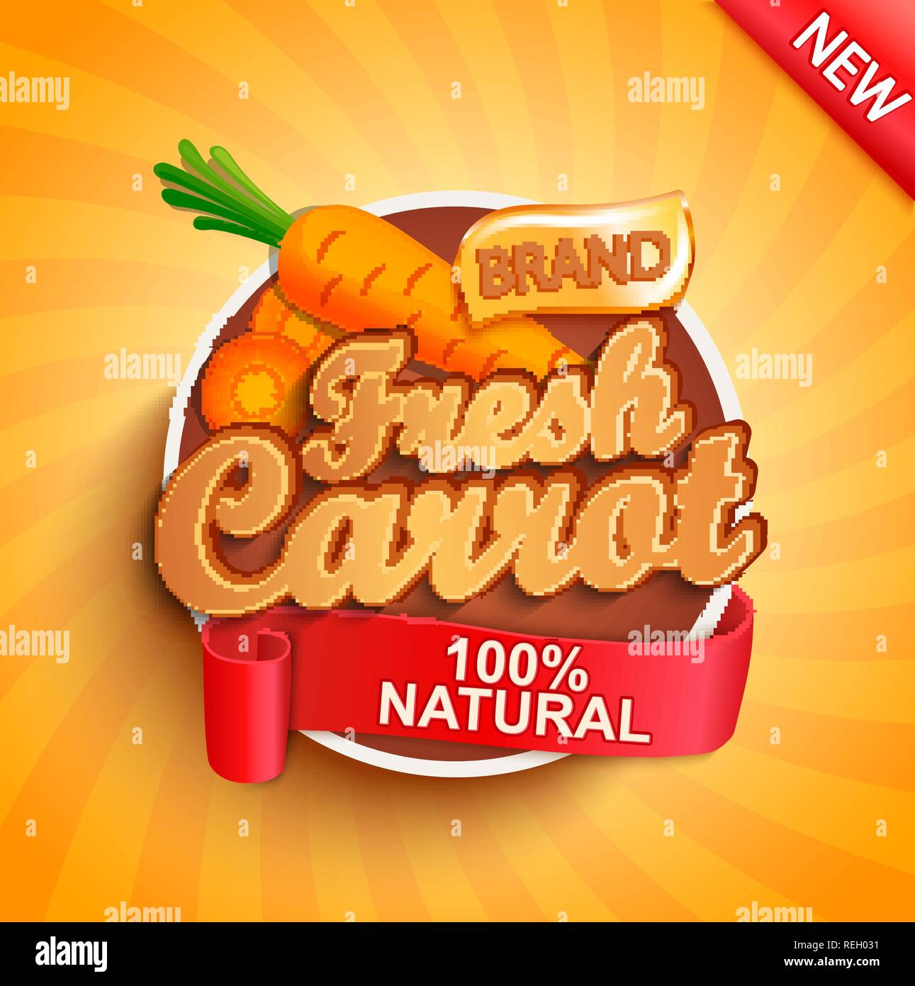 Fresh carrot logo, label or sticker on sunburst background  Natural