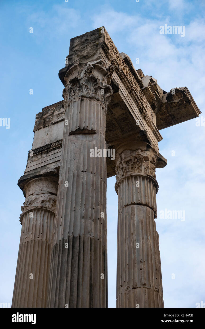 Italy Rome ruins of Temple of Apollo Medicus Sosianus columns - Stock Image