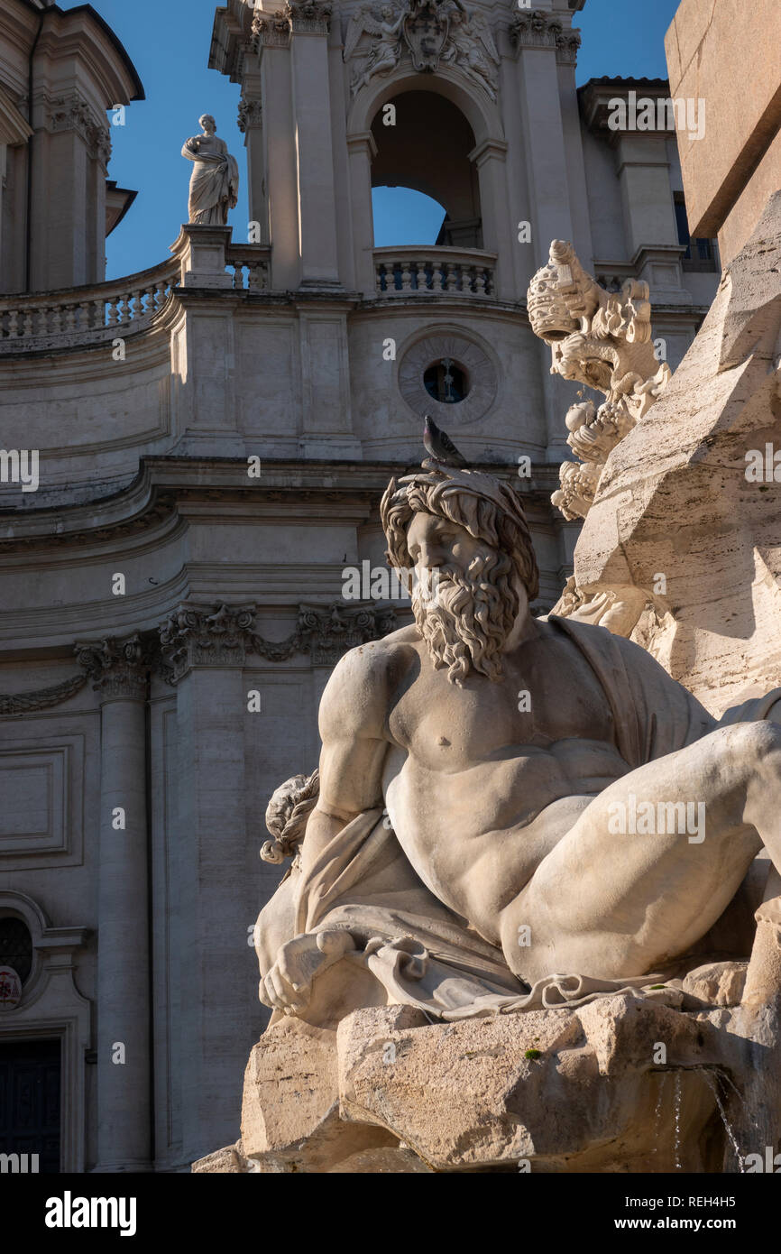 Italy Rome Piazza Navona detail of Fontana dei Fiumi  Fiumi Fountain Rivers - Stock Image