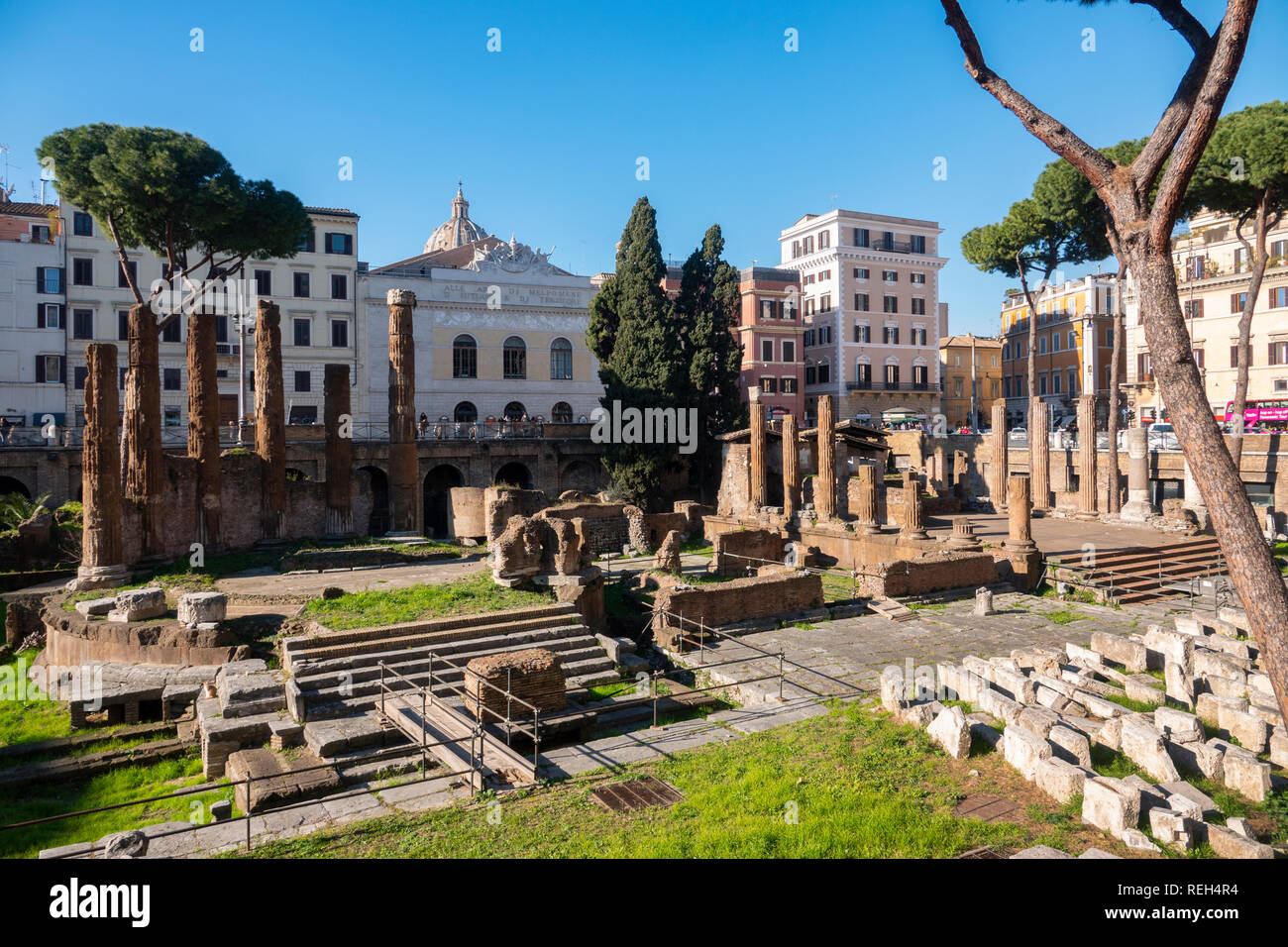 Europe Italy Rome Largo di Torre Argentina Home of the Cat Sanctuary and Roman Ruins - Stock Image